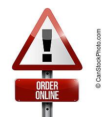 Order online warning sign concept illustration design...
