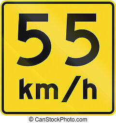 Speed Limit 55 Kmh In Canada - A road sign in Canada - Speed...