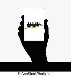 business people vector silhouette in hand