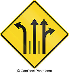 Three Lanes With Left Turn Lane in Canada - Warning road...