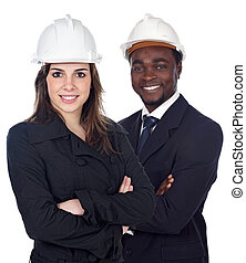 Couple of engineers a over white background