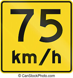 Speed Limit 75 Kmh In Canada - A road sign in Canada - Speed...