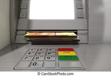 distributeur billets banque, façade, espèces, Withdrawel,