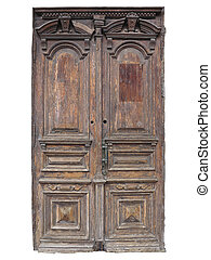 Vintage old brown wood door with patterns isolated