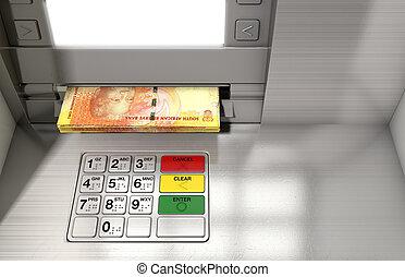 distributeur billets banque, façade, espèces,...