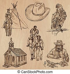 Wild West - Hand drawn vector pack - WILD WEST Collection of...