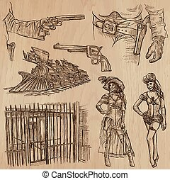 Wild West - Hand drawn vector pack - WILD WEST. Collection...