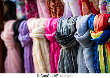 Textile, cloth on market - Rolls of textile, cloth and...