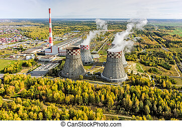 Combined heat and power factory. Tyumen. Russia - Aerial...