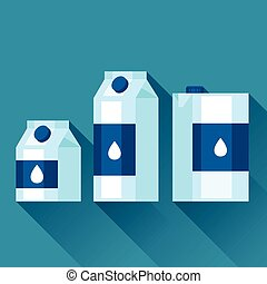 Illustration with packaging of milk in flat design style