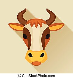 Illustration with cow head in flat design style.