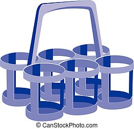 Plastic bottle rack formed by six for the transport