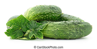 Cucumbers with leaves isolated on white background