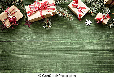 Rustic festive Christmas border with gift-wrapped presents...