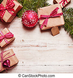 Christmas border on rustic wood - Christmas border with...