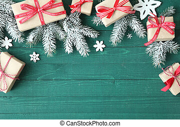 Decorative Christmas background with gifts tied with red...