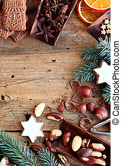Festive border of nuts, cookies and spices with speculoos,...