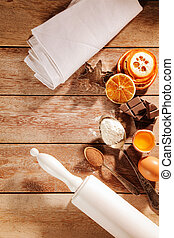 Christmas spices and baking ingredients - Overhead view of...