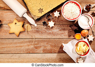 Baking delicious Christmas cookies in traditional star...