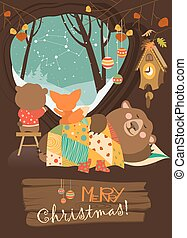 Cute bear and little fox watching snow from den. Vector...