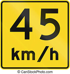 Speed Limit 45 Kmh In Canada - A road sign in Canada - Speed...