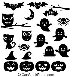 Halloween silhouettes - Vector collection of different black...