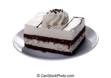 piece of cake on a plate on white background