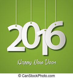 Happy new year 2016 creative greeting card design on green background