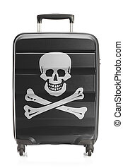 Suitcase painted into Jolly Roger flag - piracy symbol -...