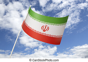 Iran flag in front of a blue sky