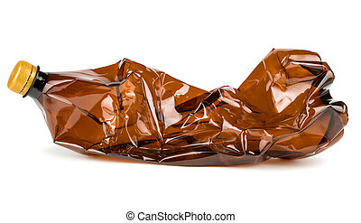 Crumpled plastic bottle - Crumpled brown plastic bottle...