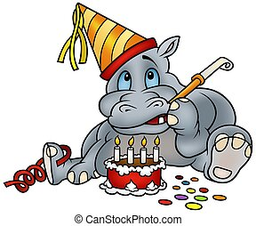 Hippo and Cake - Hippo and Birthday Cake - detailed colored...