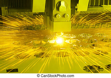 Industrial laser cutting machine with sparks