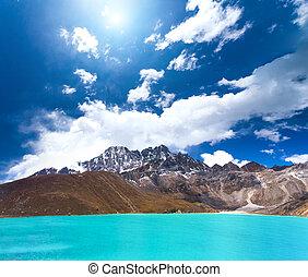 Gokyo Lake in Nepal - Beautiful turquoise lake high in the...