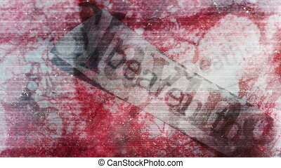 Horror static words eye blood - Horror mixed media abstract...