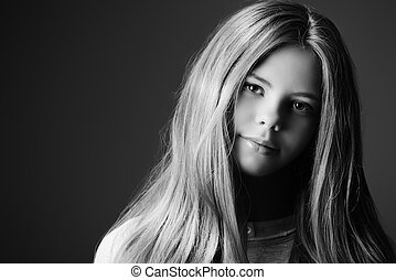 twelve years old - Close-up portrait of a pretty girl...