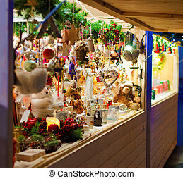Traditional Christmas goods displayed for sale at a Christmas Market