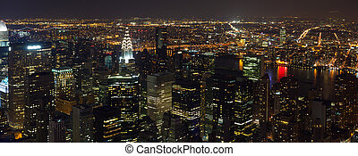 Times Square panorama aerial view at night