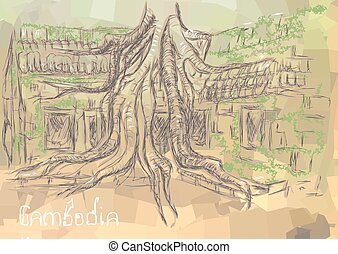 Cambodia. abstract silhouette of the temple covered with...