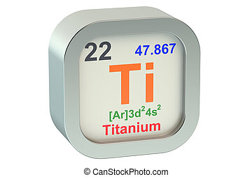 Titanium element symbol isolated on white background
