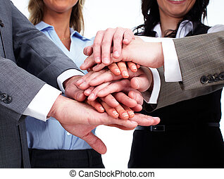 Hands of business people team. - Hands of happy business...