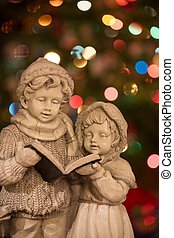 Christmas Carolers with Christmas Lights - Vertical - Statue...