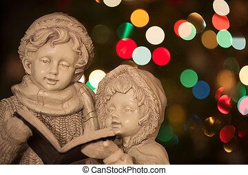 Christmas Carolers with Christmas Lights - Horizontal -...