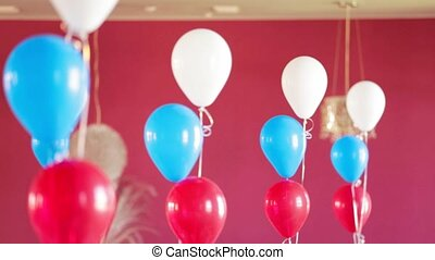 Bunches Of Helium Balloons Decorating Room - DOLLY: Bunches...