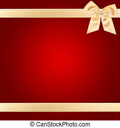 Gold Christmas bow on red card - Gold Christmas bow on...
