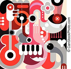 Abstract Art - Abstract art vector background. Decorative...
