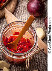 Ajvar. - Ajvar - delicious dish of red peppers, onions and...