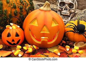 Halloween Jack o Lantern scene with candy and decor...