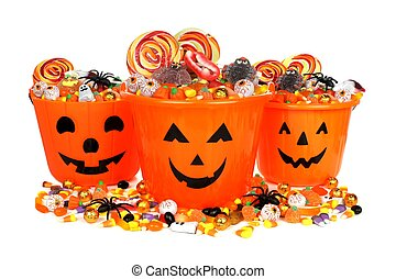 Halloween candy pails - Group of Halloween Jack o Lantern...