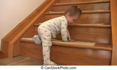Baby's first stair climb in cute - A 4k video made with a...